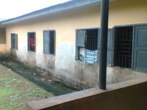 Psychiatric School of Nursing Hostels with destroyed windows.