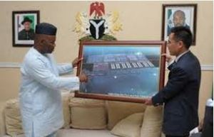 Akpabio Showing the Scam Ibaka Deep Seaport Project on the Map