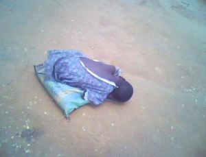 Little Nkoyo sleeping by the side of the Oron East West Road.