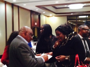 Amb Assam Conferring with Business Community during the Houston Town Hall Meeting